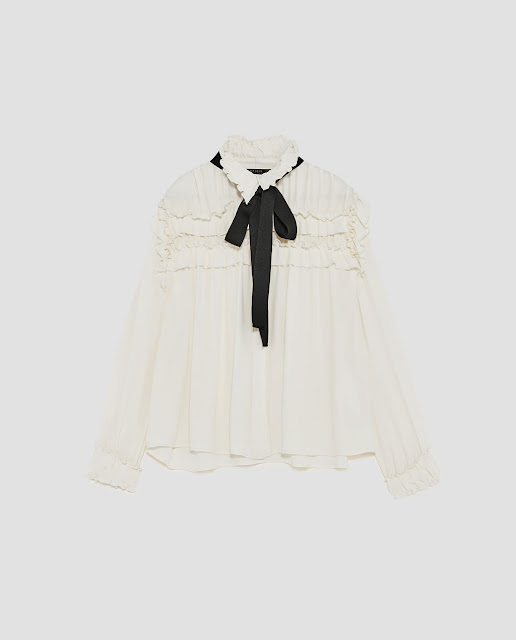 Zara Ruffled Blouse With Contrasting Bow