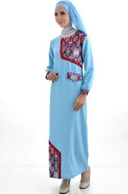 Model Gamis Batik Kombinasi Polos elegan