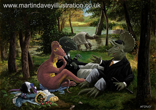 The Luncheon on the Grass with dinosaurs digital painting