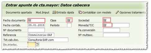 Ejemplo de campos obligatorios en SAP