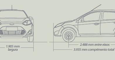Ford Fiesta RoCam Hatch: Dimensões do Fiesta Rocam Hatch