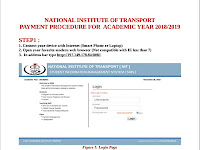 NATIONAL INSTITUTE  OF TRANSPORT PAYMENT PROCEDURE FOR   ACADEMIC YEAR 2018/2019