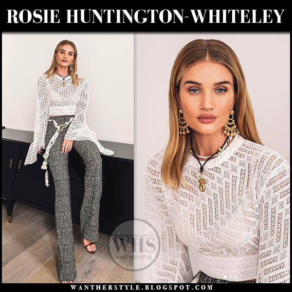 9213c4906f77 Rosie Huntington-Whiteley in white chloe crochet top and grey trousers  model style january 28