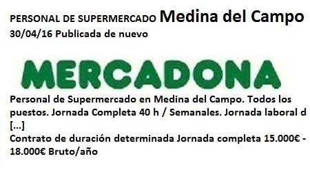 Lanzadera de Empleo Virtual Valladolid, Oferta Mercadona Medina del Campo