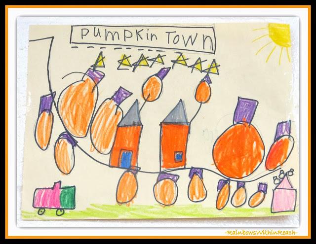 """Pumpkin Town"" Drawing in Kindergarten via RainbowsWithinReach"