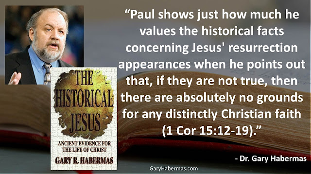 "Quote from Gary Habermas from his book ""The Historical Jesus: Ancient Evidence For The Life of Christ""- ""Paul shows just how much he values the historical facts concerning Jesus' resurrection appearances when he points out that, if they are not true, then there are absolutely no grounds for any distinctly Christian faith (1 Cor 15:12-19)."" #History #Jesus #Christianity #Evidence #Religion #God"