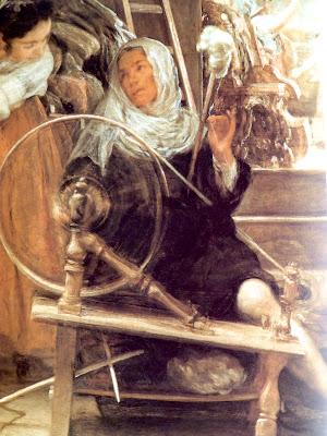 Detalle de las Hilanderas, Atenea tejiendo