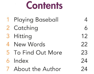 table of contents from  I CAN PLAY BASEBALL  (Welcome Books: Sports)  by Edana Eckart