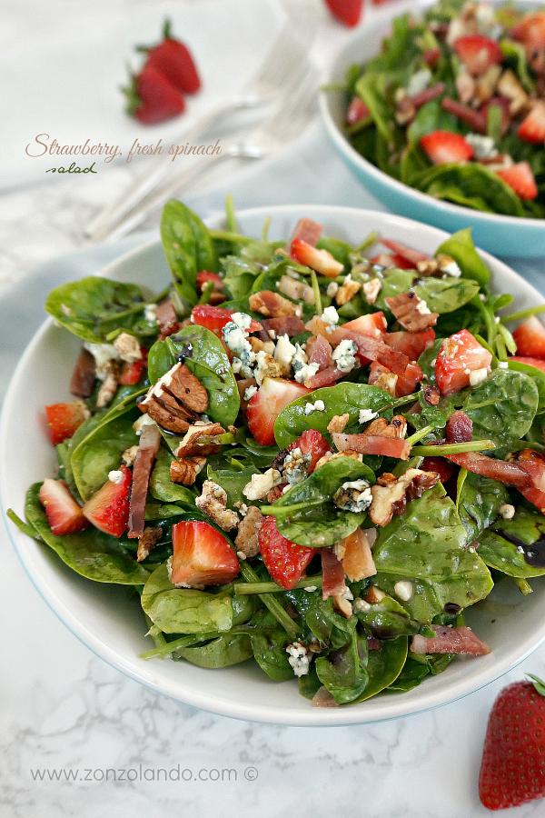 Strawberry fresh spinach bacon blue cheese pecan salad recipe noodle company ricetta insalata con fragole e spinaci freschi estiva