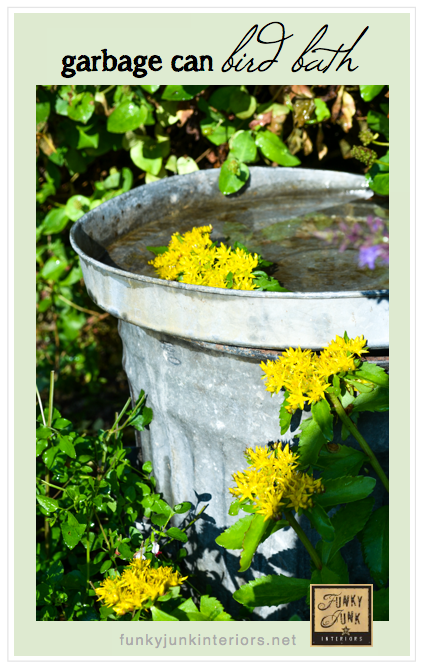 Learn how to whip up this 5 minute garbage can bird bath! Easy, rustic, and your other pets will enjoy it too!