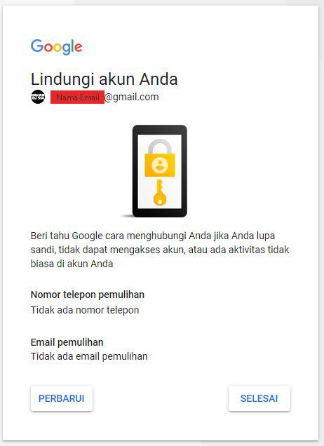 Berikan Nomor Telepon Aktif dan Gmail Pemulihan