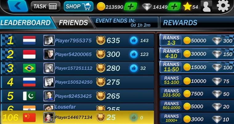 Street Racing 3D Game leaderboard