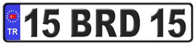 Burdur il isminin kısaltma harflerinden oluşan 15 BRD 15 kodlu Burdur plaka örneği
