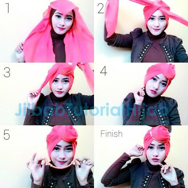 Tutorial Style Hijab Segi Empat paris turban dian pelangi 2016, lebaran, kondangan dan pesta