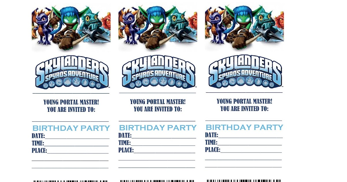 Skylander Birthday Party Invitations