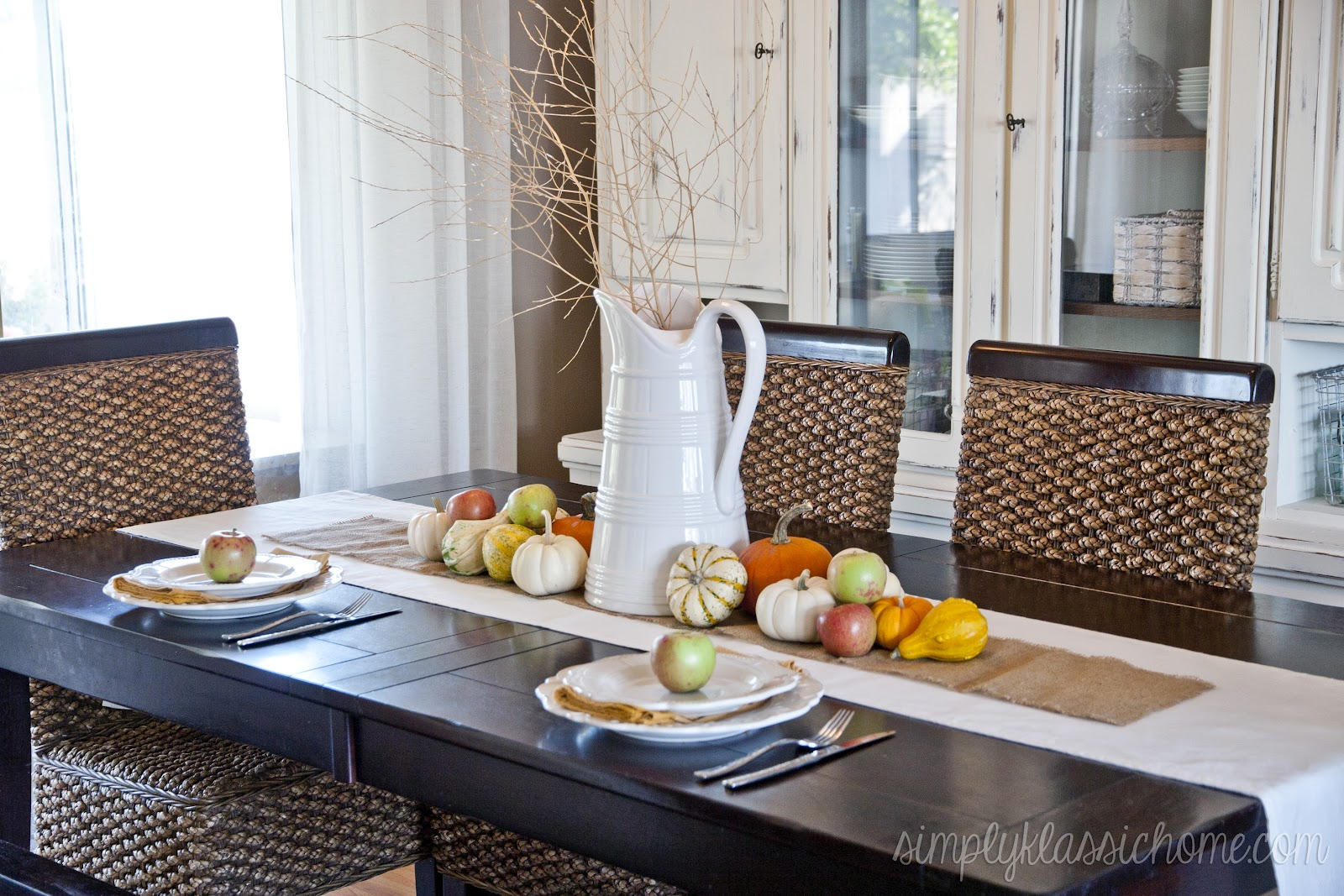 fall centerpieces for dining room table | Fall Dining Room and Tablescape - Yellow Bliss Road