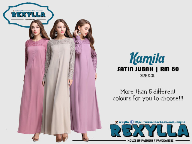 rexylla, satin lace jubah, kamila collection