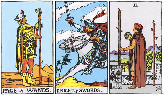 Rider Tarot - Page of Wands, Knight of Swords, 2 of Wands