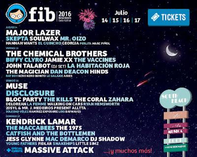 FIB, 2016, cartel, festival, concierto, música