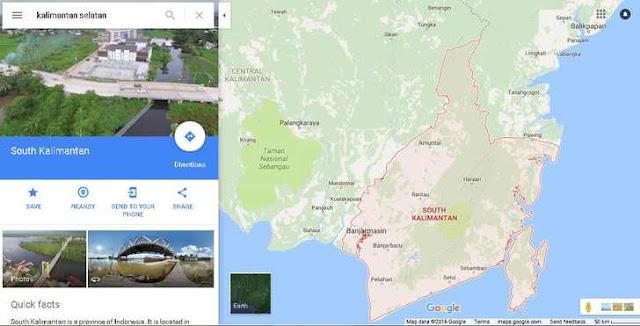 Peta Kalimantan Selatan dari Satelit