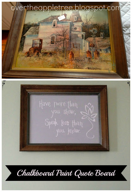 thrift store frame to chalkboard quoteboard
