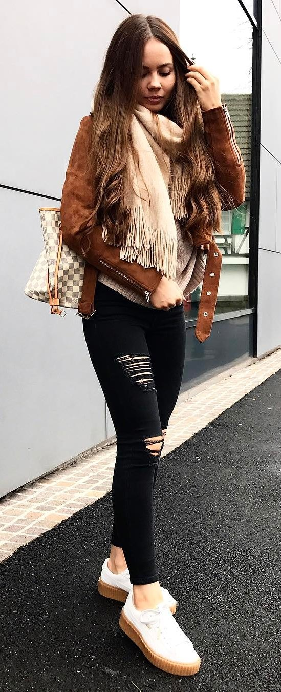 cute outfit / brown jacket + sweater + bag + rips + cashmere scarf