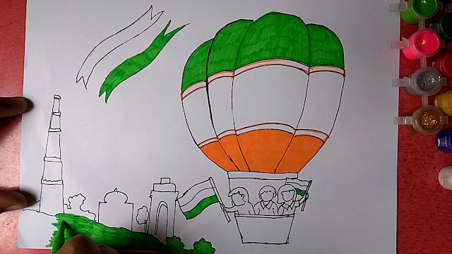Draw Independence Day step by step