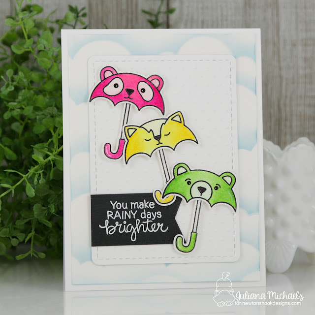 Umbrella Card with Cloud Die Masked Background by Juliana Michaels featuring Newton's Nook Design Umbrella Pals Stamp Set