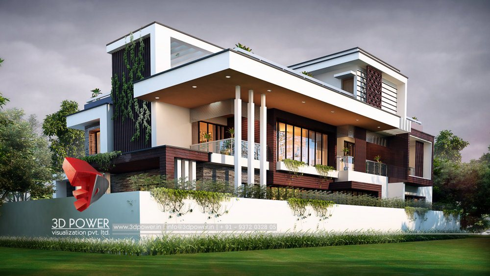 Stylish 3d Exterior Design Rendering Of A Bungalow With Nice Exterior Design