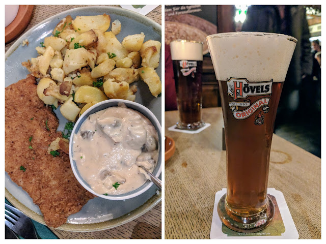 Pork schnitzel and beer at Hövels Hausbrauerei in Dortmund, Germany
