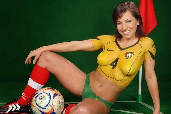 Talented body paint women soccer team