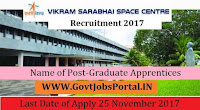 Vikram Sarabhai Space Centre Recruitment 2017–153 Graduate Apprentices