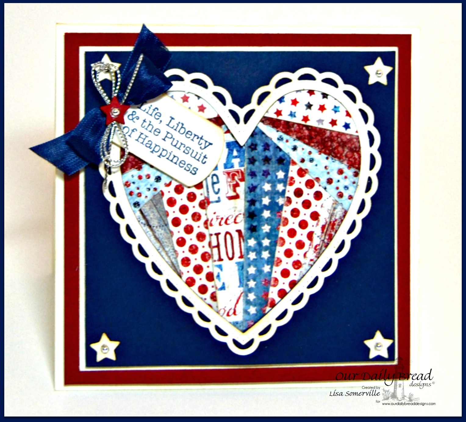 Stamps - Our Daily Bread Designs American Hero, ODBD Custom Mini Tags Dies, ODBD Custom Sparkling Stars Dies, ODBD Custom Ornate Hearts Dies, ODBD Patriotic Paper Collection