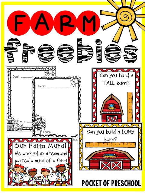 Farm themed math and literacy centers that preschool, pre-k, and kindergarten students will LOVE (with FREEBIES)!