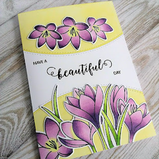 Crocus flowers card with PPP stamps
