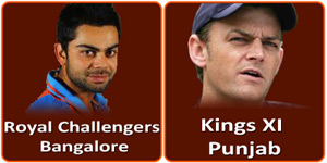 RCB Vs KXIP is on 14 May 2013.