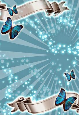 Tarjeta de Invitación Turquesa para 15 años con mariposas plateada con plata