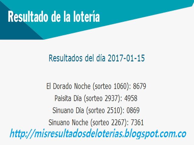 Loterias de Hoy  Resultados diarios de la Lotería y el Chance   Enero 15 2017