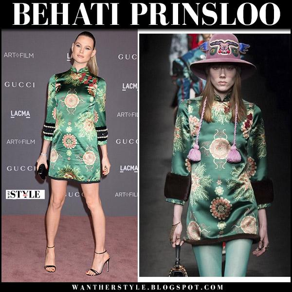 Behati Prinsloo in green printed mini dress and black sandals at LACMA Gala november 4 2017 red carpet fashion