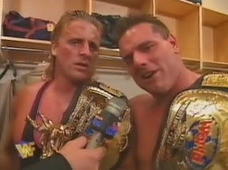 WWF / WWE IN YOUR HOUSE 10: Mind Games - Owen Hart & British Bulldog gloated about their big win