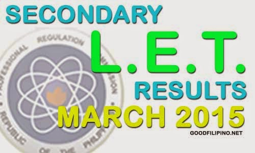 LET Results 2015 - L.E.T Secondary Level Passers (March 2015)