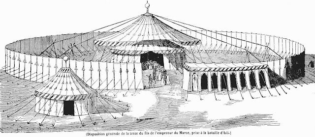 an illustration of a temporary royal tent in 1843 Moroco