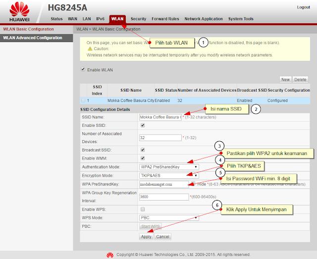 Cara Setting WiFi Huawei HG8245A Indihome