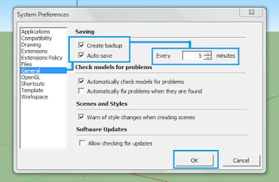 Cara Mengaktifkan Fitur AutoSave di Sketchup