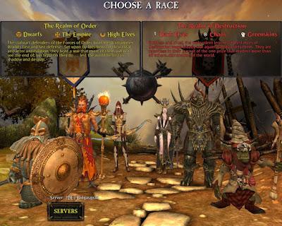 Schermata di selezione razza su Return of Reckoning