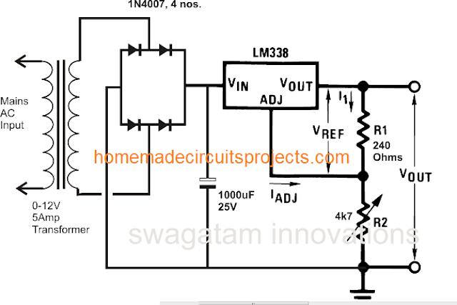 full wave regulated DC power supply circuit using regulator IC