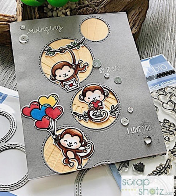 Sunny Studio Stamps: Love Monkey Staggered Circle Dies Customer Card Share by Rosie