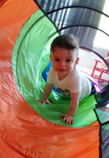Harold Turns One, 12 month old baby, baby, toddler, tunnel, playing, toys