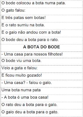 Texto em versos para recortar A BOTA DO BODE, de Mary França e Eliardo França