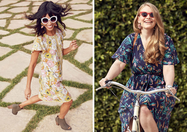 Полная девушка на велосипеде в платье с цветочным принтом среднего масштаба